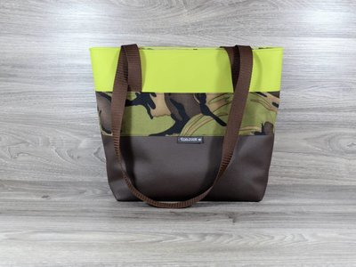 Edelzosse Shopper- Handtasche-Braun-Apfelgrün
