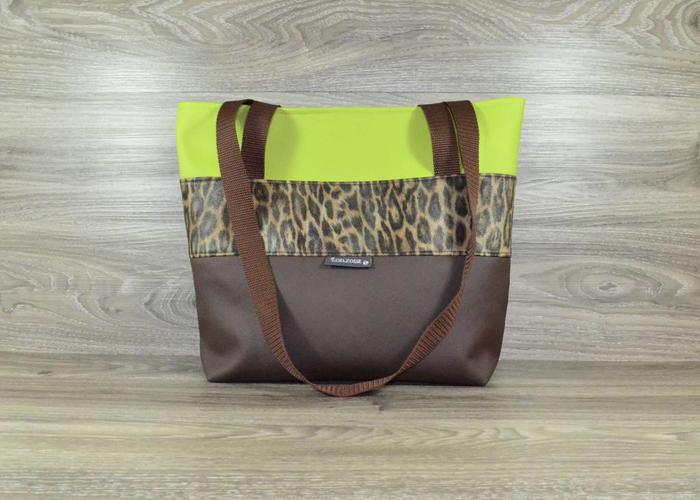 Edelzosse Shopper- Handtasche-Braun-Leopard
