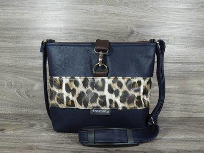 Edelzosse Crossbody Premium Nachtblau-Leopard