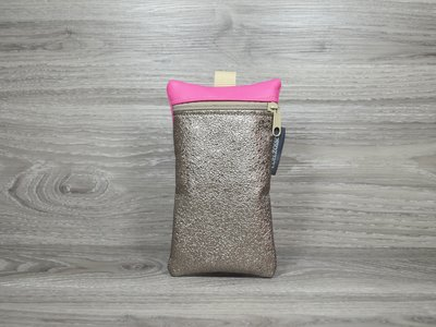 Edelzosse Handytasche Metallic Braun - Pink