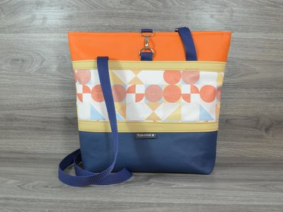Edelzosse Shopper- Handtasche-Grafik-Blau-Orange