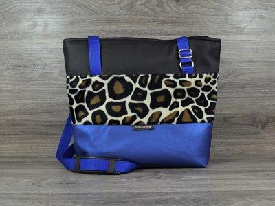 Edelzosse Shopper- Handtasche-Mettalic Blau-Leostoff-Schwarz