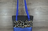 Edelzosse Shopper- Handtasche--Mettalic Blau-Leostoff-Schwarz