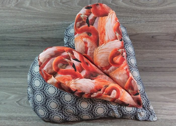 Edelzosse Lesekissen-Herzkissen - Flamingos