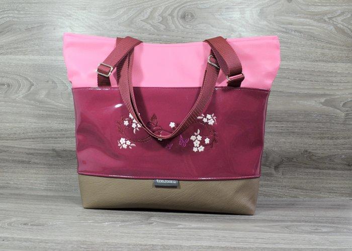 Edelzosse Shopper-Handtasche- Beere Lack