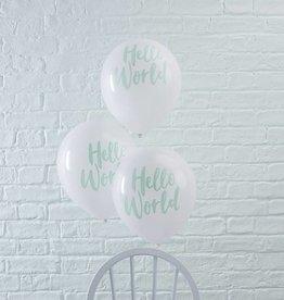 Weisse und mintgruene Hello World Ballons