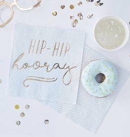 Ginger Ray Hip-Hip-Horray Papierservietten blau