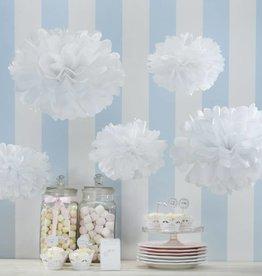 Papier-Pompoms in weiss