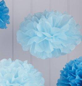 Papier-Pompoms in blau