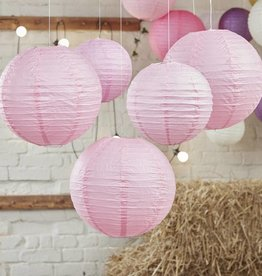 5 Lampions in baby-pink