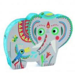 Djeco Djeco Silhouetten-Puzzle Elefant bei Pilzessin