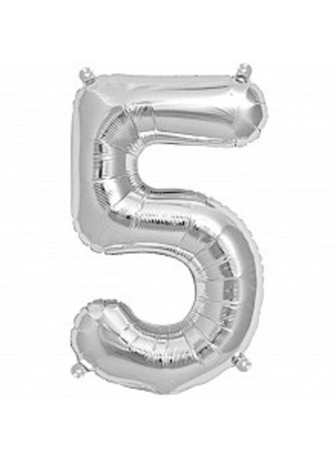 Folienballon silber Zahl