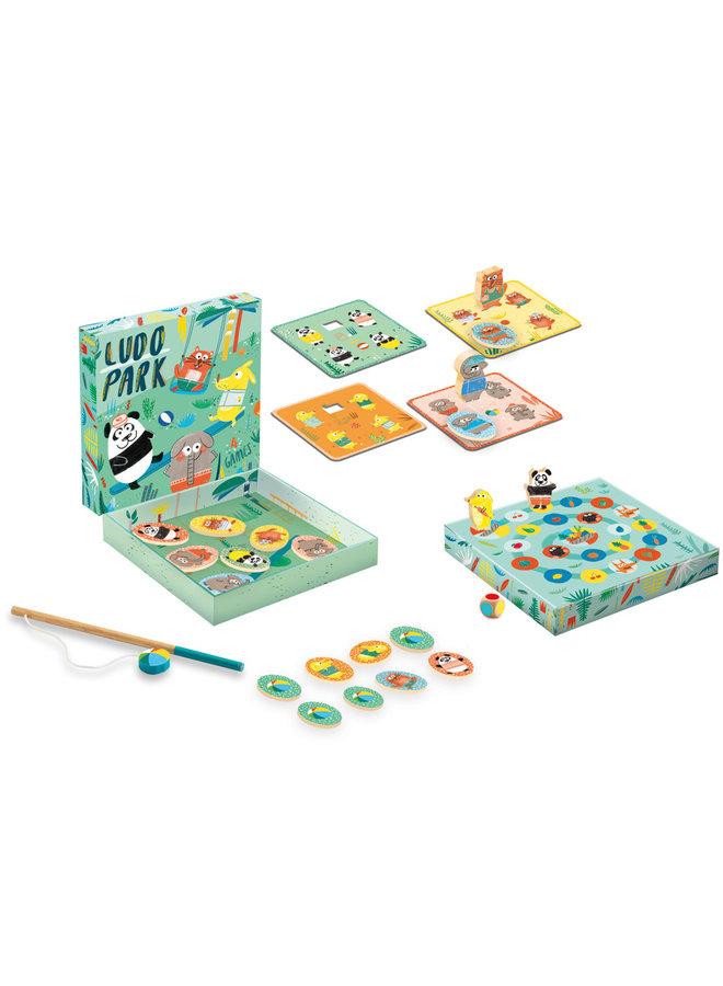 Lernspiel aus Holz Ludo Park 4 games von Djeco