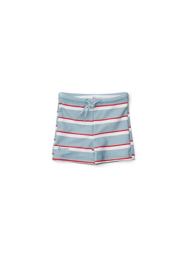Liewood Otto Swim Pants Sea blue/red apple/creme de la creme