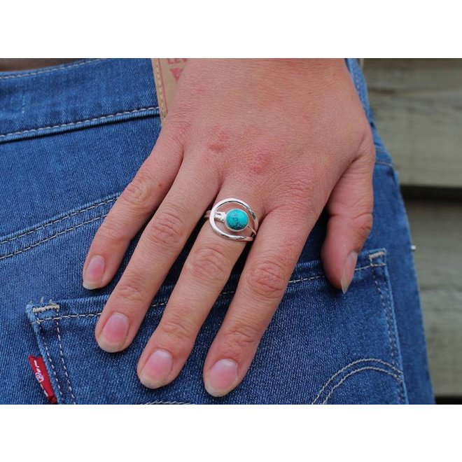 Turquoise Oval Cab | zilveren ring