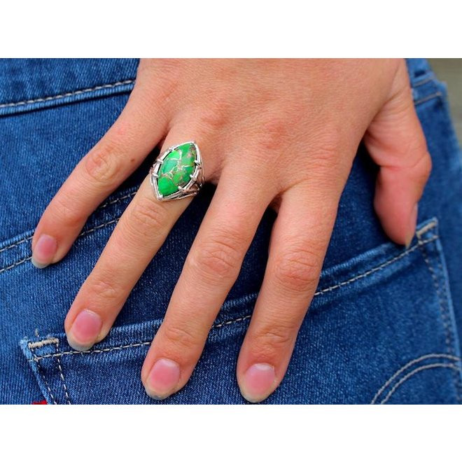 Green Turquoise Cab | zilveren ring