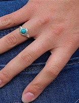 Turquoise Cab | zilveren ring