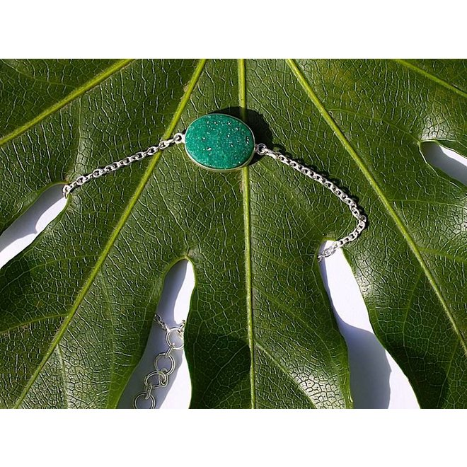 Large Green Druzy silver