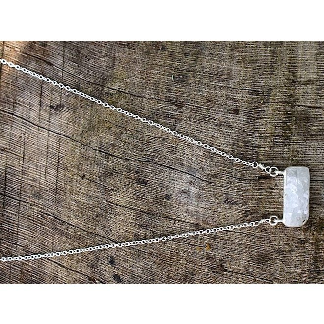 White Druzy necklace silver| zilveren ketting