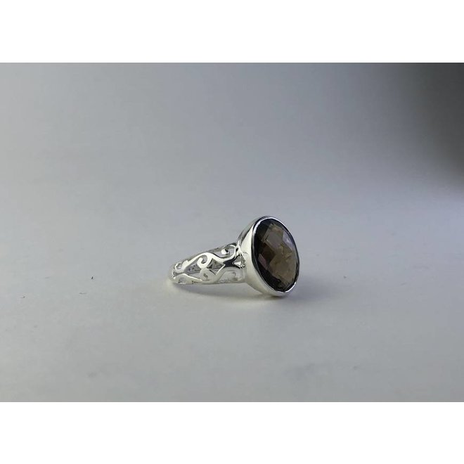 Fancy Smokey Quartz | zilveren ring