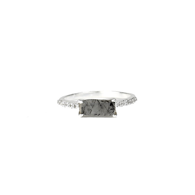 Royal Silver - Black Rutile  | zilveren ring