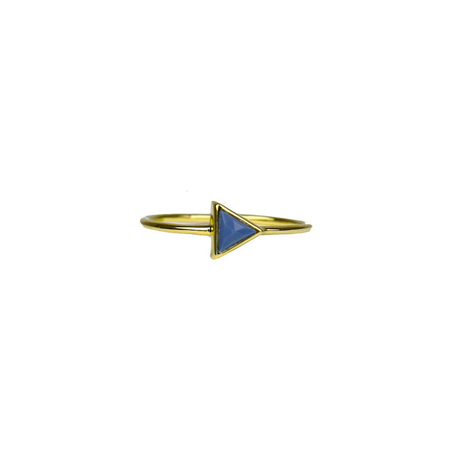 Gold Triangle - Blue Opal | gouden ring