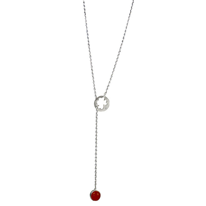 Lucky Carneool necklace silver | zilveren ketting