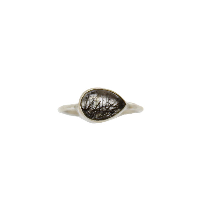 Silver Black Rutile Drop | zilveren ring