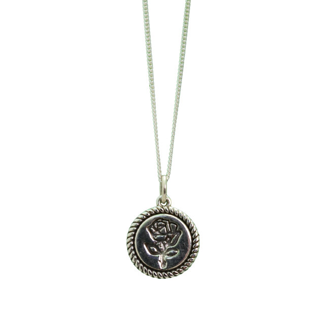 Lucky Flower Coin necklace silver