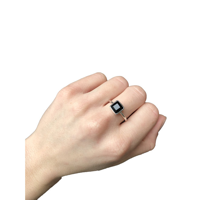 Black Onyx Square ring silver | zilveren ring