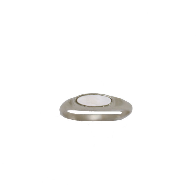 Tiny Pearl Signet  ring silver