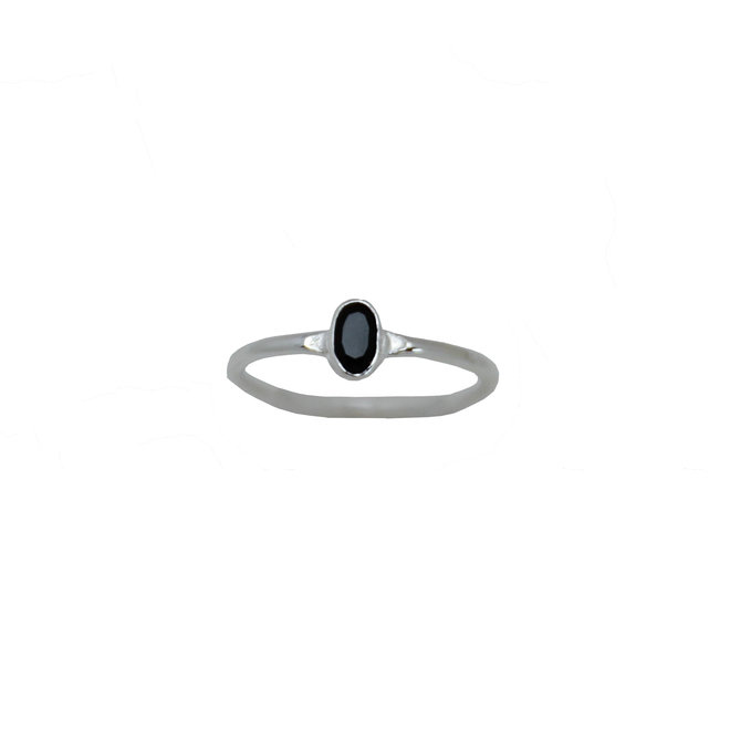 Tiny Black Onyx ring silver