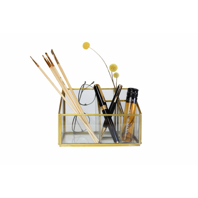 Glazen organizer - Goud - 18x10,5x12 cm