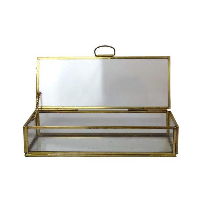 Glazen box - Goud - 30x12x6 cm