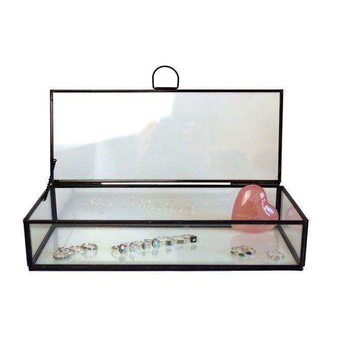 Glazen box - Zwart - 30x12x6 cm