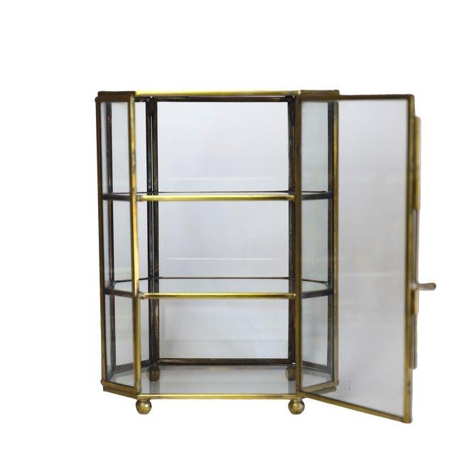 Glazen box met verdiepingen - Hexagon  - Goud - 16,7x10,3x22  cm