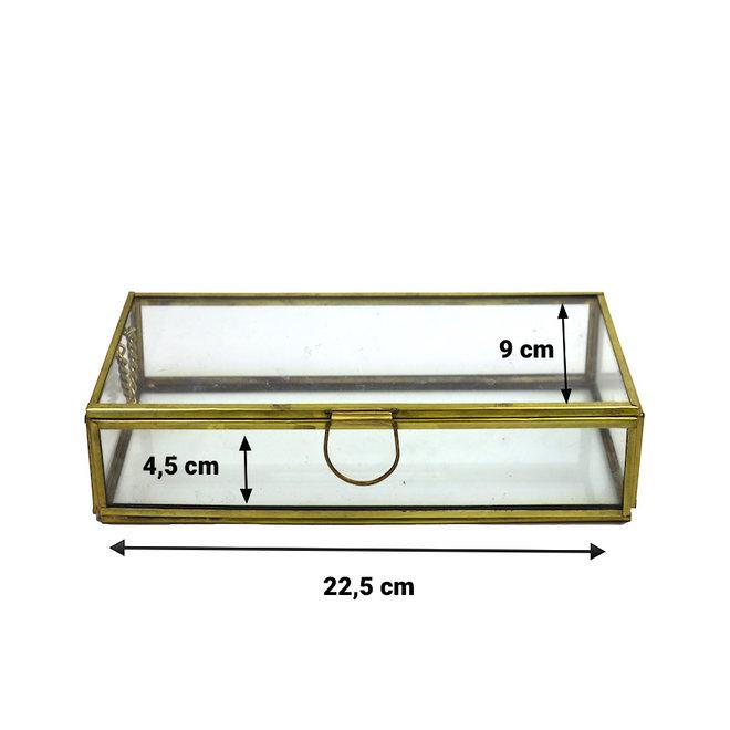 Glazen box - Goud - 22,5x9x4,5 cm
