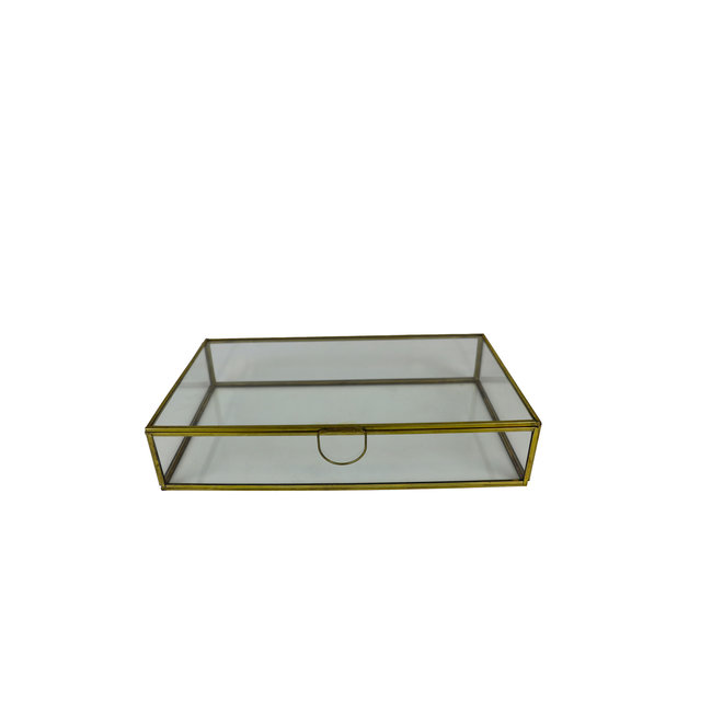 Glazen box - Goud - 30x17x6 cm