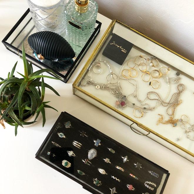 Glazen box - Zwart - 22x9x6 cm