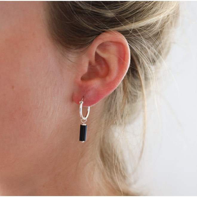 Black Onyx Earring Silver