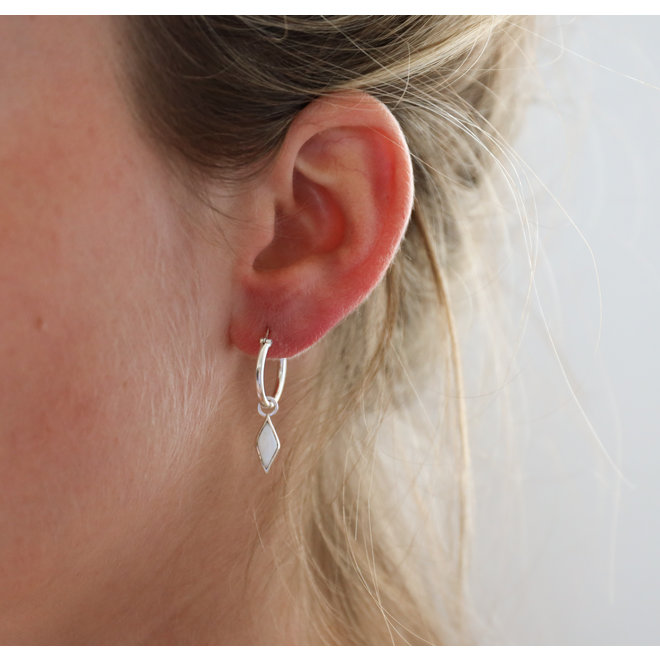 Mother Of Pearl Diamond earring silver