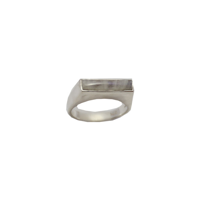Rectangle Moonstone Signet ring silver