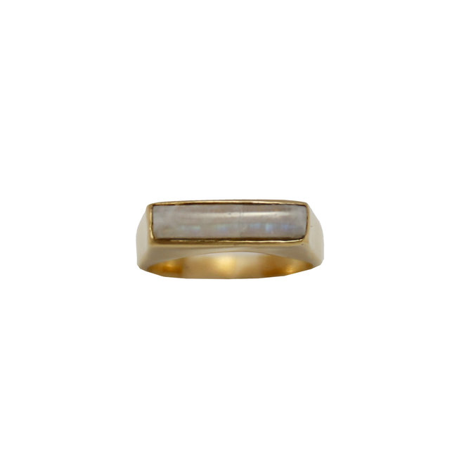 Rectangle Moonstone Signet ring gold
