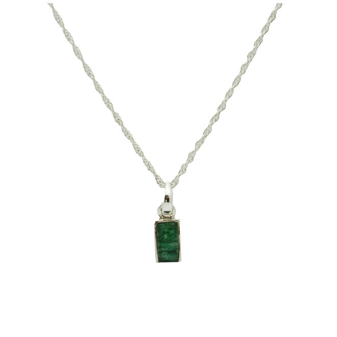 Rectangle Jade Necklace Silver