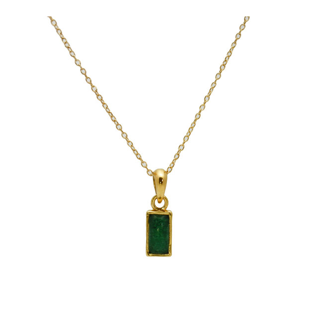 Rectangle Jade Necklace Gold