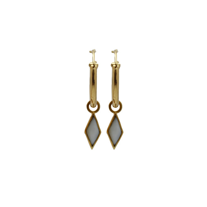 Mother Of Pearl Diamond earring gold