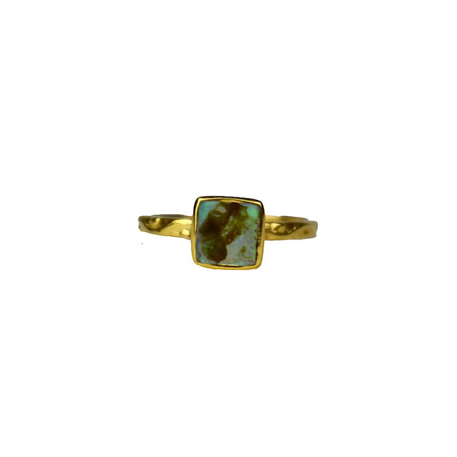 Gold Ablone Shell Square | gouden ring