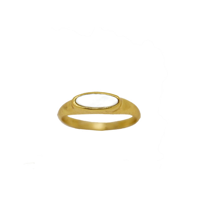 Tiny Pearl signet ring gold | gouden ring