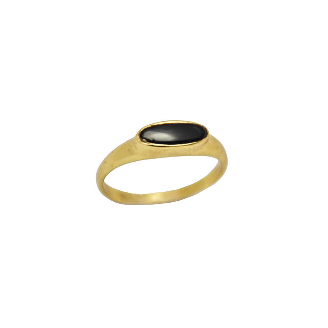 Tiny Black Onyx  signet ring gold