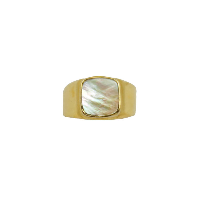 Mother Of Pearl Signet ring gold | gouden ring